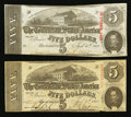 Confederate Notes:1863 Issues, T60 $5 1863 Two Examples.. ... (Total: 2 notes)