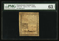 Colonial Notes:Pennsylvania, Pennsylvania April 3, 1772 1s PMG Choice Uncirculated 63 Net.. ...