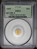 California Fractional Gold: , 1880 25C Indian Octagonal 25 Cents, BG-799X, R.3, MS63 PCGS. Acharming green-gold example from the waning years of Period ...