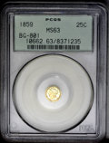 California Fractional Gold: , 1859 25C Liberty Round 25 Cents, BG-801, R.3, MS63 PCGS. An evenlystruck piece with glassy, reflective fields. The lower o...