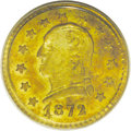 California Fractional Gold: , 1872 25C Washington Round 25 Cents, BG-818, Low R.4, MS63 PCGS.Although this gently mirrored olive-gold and reddish-gold p...