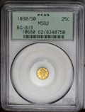 California Fractional Gold: , 1860/50 25C Liberty Round 25 Cents, BG-819, R.4, MS62 PCGS. Thisradiant lemon-gold piece has flashy fields and a few faint...