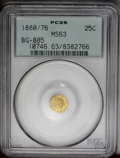 California Fractional Gold: , 1880/76 25C Indian Round 25 Cents, BG-885, R.3, MS63 PCGS. Thispumpkin-gold piece has a well struck portrait, and there is...