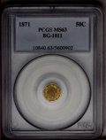 California Fractional Gold: , 1871 50C Liberty Round 50 Cents, BG-1011, R.2, MS63 PCGS. Akhaki-gold representative with hints of lavender toning on the ...