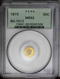 California Fractional Gold: , 1873 50C Liberty Round 50 Cents, BG-1012, High R.5, MS62 PCGS. Rosehighlights grace the devices, and the fields are honey-...