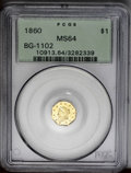 California Fractional Gold: , 1860 $1 Liberty Octagonal 1 Dollar, BG-1102, R.4, MS64 PCGS. Amoderately reflective and exquisitely struck octagonal dolla...
