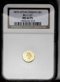 California Fractional Gold: , 1875 $1 Indian Octagonal 1 Dollar, BG-1127, R.4, MS62 ProoflikeNGC. Attractive yellow-gold surfaces display nice field-to-...