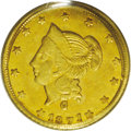 California Fractional Gold: , 1871 $1 Liberty Round 1 Dollar, BG-1204, High R.5, MS61 PCGS. Thisflashy canary-gold representative has a few light field ...
