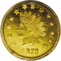 California Fractional Gold: , 1872 $1 Indian Round 1 Dollar, BG-1207, R.4, MS64 PCGS. Thisprooflike older holder near-Gem has flashy straw-gold fields a...