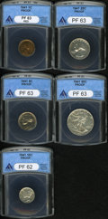 1941 1C Proof Set PR62 to PR63 ANACS. The set includes: cent PR63 Red, gold and brick-red swirls with distributed minor...