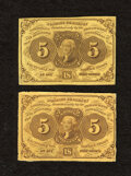 Fractional Currency:First Issue, Fr. 1230 5c First Issue. Two Examples. Fine or Better. One note has an ink spot on the back.. ... (Total: 2 notes)