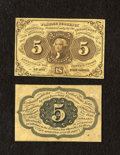 Fractional Currency:First Issue, Fr. 1231SP 5c First Issue Narrow Margin Pair About New. This pair was once mounted with the back showing a little more evide... (Total: 2 notes)