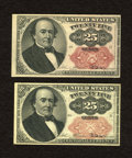 Fractional Currency:Fifth Issue, Fr. 1309 25c Fifth Issue. Two Examples. Choice About New or Better. After awhile, faint handling is observed on one note.. ... (Total: 2 notes)