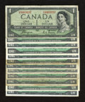 Canadian Currency: , $1 Canadian Notes Good or Better including 1954 Devil's Face (2);1954 Modified Portrait (6); and 1967 with serial numbers (...(Total: 12 notes)