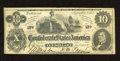 """Confederate Notes:1862 Issues, T46 $10 1862. A """"Richmond, Va 1863"""" stamping is found on the back.Fine+...."""