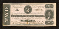 Confederate Notes:1862 Issues, T54 $2 1862. A little bit of handling is noticed near the edges, while a small moisture spot is located in the lower left-ha...