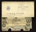 Confederate Notes:Group Lots, 1912 Treasury Department Dispersal Letter with Notes.. T18 $20 1861VG, CC. T28 $10 1861 VG, CC. T30 $10 1861 VG, ... (Total: 6 notes)