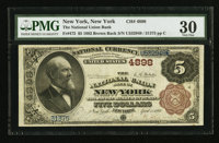 New York, NY - $5 1882 Brown Back Fr. 472 The National Union Bank Ch. # 4898