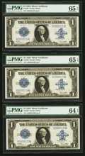 Fr. 238 $1 1923 Silver Certificates Three Consecutive Examples PMG Graded