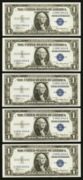 Reverse Changeover Non-Mule/Mule Pair with Bookends Fr. 1608 $1 1935A Silver Certificates. Five Consecutive Examples. Ch...