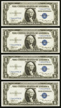 Reverse Changeover Non-Mule/Mule Pair with Bookends Fr. 1608 $1 1935A Silver Certificates. Four Consecutive Examples. Ch...