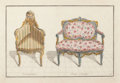 Prints, JEAN CHARLES DELAFOSSE (French, 1734-1789). French Armchairs (group of four), circa 1768. Hand-colored engravings. 10 x ... (Total: 4 Items)