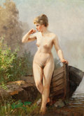 Fine Art - Painting, European:Antique  (Pre 1900), CONTINENTAL SCHOOL (19th Century). Nude Stepping Ashore withRowboat. Oil on canvas. 17-1/2 x 12-3/4 inches (44.5 x 32.4...