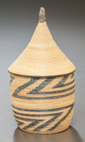 Tribal Art, Tutsi, (Rwanda). Extremely fine lidded basket. Plant fiber, naturaldye. Height: 5 inches. ... (Total: 2 Items)