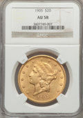 Liberty Double Eagles: , 1905 $20 AU58 NGC. NGC Census: (198/461). PCGS Population (91/469).Mintage: 58,900. Numismedia Wsl. Price for problem free...