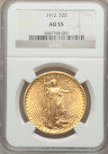 Saint-Gaudens Double Eagles: , 1912 $20 AU55 NGC. NGC Census: (25/2365). PCGS Population (76/3375). Mintage: 149,700. Numismedia Wsl. Price for problem fr...