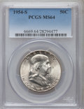 Franklin Half Dollars: , 1954-S 50C MS64 PCGS. PCGS Population (3921/3870). NGC Census:(1607/5207). Mintage: 4,993,400. Numismedia Wsl. Price for p...