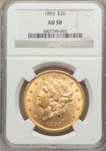 1893 $20 AU58 NGC. NGC Census: (121/5444). PCGS Population (196/3584). Mintage: 344,200. Numismedia Wsl. Price for probl...