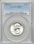 Washington Quarters: , 1939-D 25C MS67 PCGS. PCGS Population (42/0). NGC Census: (65/0).Mintage: 7,092,000. Numismedia Wsl. Price for problem fre...