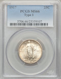 Standing Liberty Quarters: , 1917 25C Type One MS66 PCGS. PCGS Population (35/1). NGC Census: (31/6). Mintage: 8,740,000. Numismedia Wsl. Price for prob...