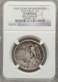 "Counterstamps, 1925 Stone Mountain Half Dollar -- Counterstamped ""OKLA 173"", Rim Damaged -- NGC Details. VF...."
