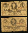 Confederate Notes:1863 Issues, T63 50 Cents 1863 Two Examples.. ... (Total: 2 notes)