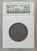 Coins of Hawaii, 1847 1C Hawaii Cent, 15 Berry -- Cleaned -- ANACS. Unc Details, NetAU50. CR-4. NGC Census: (8/221). PCGS Population (27/30...