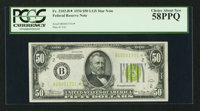 Fr. 2102-B* $50 1934 Light Green Seal Federal Reserve Note. PCGS Choice About New 58PPQ