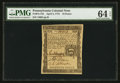 Colonial Notes:Pennsylvania, Pennsylvania April 3, 1772 18d PMG Choice Uncirculated 64 EPQ.. ...