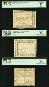 Virginia March 1, 1781 $80, $250, and $500 PCGS About New 50, Extremely Fine 45, and About New 53 All Apparent