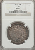 Bust Half Dollars: , 1809 50C Normal Edge AU53 NGC. O-103. NGC Census: (23/209). PCGSPopulation (47/179). Mintage: 1,405,810. Numismedia Wsl. P...