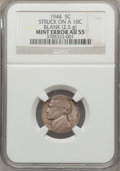 Errors, 1944 5C Jefferson Nickel -- Struck on a Blank Dime Planchet -- AU55 NGC. 2.5g....