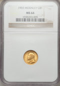 Commemorative Gold: , 1903 G$1 Louisiana Purchase/McKinley MS64 NGC. NGC Census:(507/885). PCGS Population (874/1086). Mintage: 17,500. Numismed...