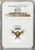 California Fractional Gold: , 1871 25C Liberty Round 25 Cents, BG-838, R.2, MS62 Prooflike NGC.NGC Census: (16/19). ...