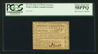North Carolina August 8, 1778 $4 A Lesson to Arbitrary Kings, and Wicked Ministers PCGS Choice About New 58PPQ