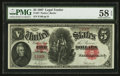 Large Size:Legal Tender Notes, Fr. 87 $5 1907 Legal Tender PMG Choice About Unc 58 EPQ.. ...