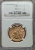 Indian Eagles: , 1912-S $10 XF45 NGC. NGC Census: (29/978). PCGS Population(31/816). Mintage: 300,000. Numismedia Wsl. Price for problem fr...