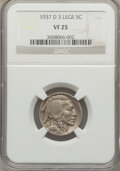 Buffalo Nickels: , 1937-D 5C Three-Legged VF25 NGC. NGC Census: (232/5158). PCGSPopulation (303/5615). Mintage: 17,826,000. Numismedia Wsl. P...