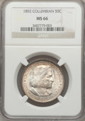 Commemorative Silver: , 1892 50C Columbian MS66 NGC. NGC Census: (217/30). PCGS Population(228/12). Mintage: 950,000. Numismedia Wsl. Price for pr...