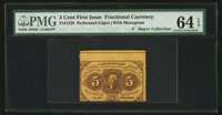Fr. 1228 5¢ First Issue Misperforated PMG Choice Uncirculated 64 EPQ